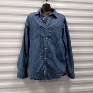 Levis Denim Button Up Shirt Top Tunic Size Small